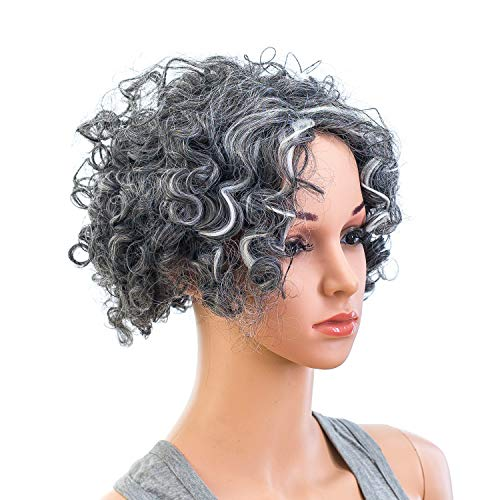 SWACC 12-Inch Old Lady Cosplay Wig Short Silver Gray Grandmother Curly Wigs for Women and Kids with Wig Cap -