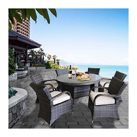 Patioption 7 Pieces (6 Seats) Outdoor Patio Furniture Dining Table Sets, All-Weather Rattan Chairs with Washable Beige Cushions and Wicker Round Tempered Glass Table, Patio Conversation Sets (Brown) - ★【PE anti-UV, Handwoven all-weather wicker, SGS certified, three-year limited warranty 】 It is suitable for indoor and outdoor usage. The handwoven all-weather wicker is easy to care and maintain. Fabrics are durable enough to withstand outdoor elements. It is stain resistant, fade and moisture resistant, they also resist bacteria, mold, mildew and odor ★【Strong rust-free aluminum alloy】 Aluminum alloys have low density but high strength and are close to or exceeding high-quality steel. Anti-distortion, no rust; they're lightweight and easily portable, at the same time, the aluminum alloy frame structure is strong. Better than iron, although iron is cheap, it is prone to rust, has a short life, and heavy ★【Weather-resistant fabrics】 1, Long-lasting fabric is engineered to resist mold, mildew, staining and fading. 2, Pillows are filled 5cm in thickness, built-in three density cotton, comfortable and durable. 3, The inner surface of the mat is water-resistant. The inner layer isolates the inner stuffing from direct contact with the outside. Even if coffee or tea is splashed on it, it can be repelled off immediately. 4, Washable removable cushion Cover - patio-furniture, dining-sets-patio-funiture, patio - 510 4JrqUoL. SS570  -