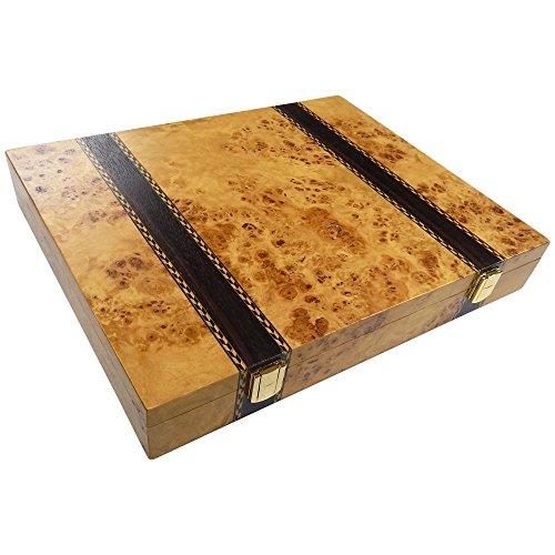 Trino Burl Wood Chess Piece Storage Case - Large