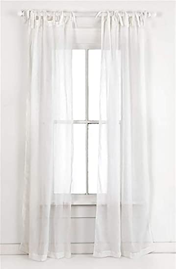 Amazoncom Cipheres White Cotton Voile Semi Sheer Tie Top Curtains