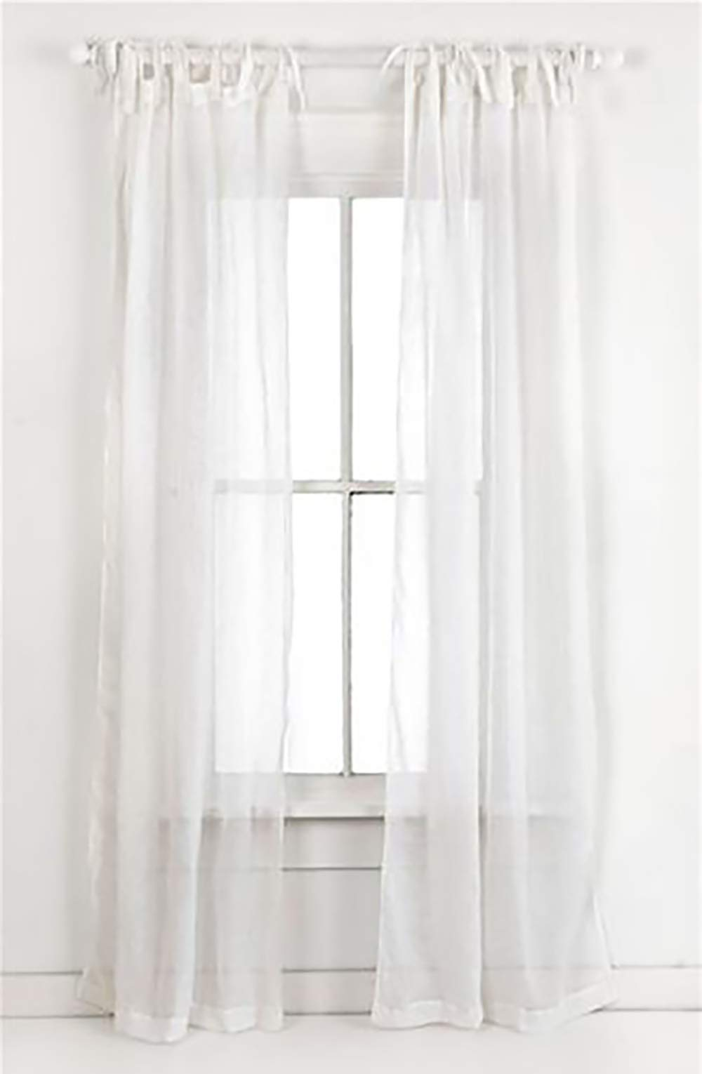 Cipheres White Cotton Voile Semi-Sheer Tie Top Curtains 54 by 95 inch - Set of 2