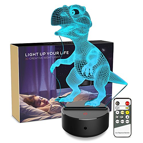 Night light 3d Dinosaur 3d Lamp Optical Illusion Kids Night Light Animals 7 Colors Change LED Touch Table Desk Lamps with Remote for Boys Girls Bedroom Birthday Gifts (Dinosaur)