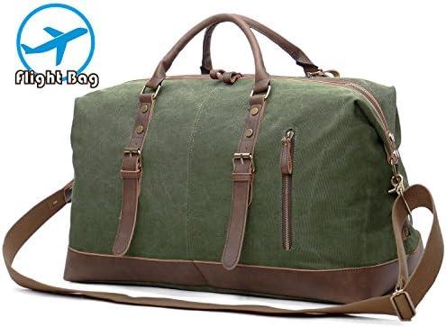 ad44ba564 EverVanz Bolsa de Viaje de Cuero de Gran tamaño de Lona para Fines de  Semana o. Cargando imágenes.