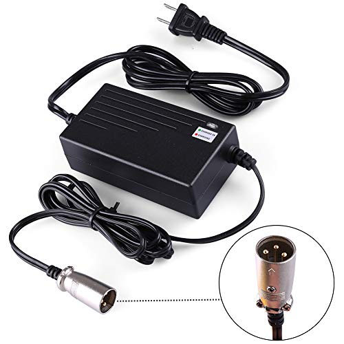 LotFancy 24V 2A Battery Charger for Electric Scooter, Wheelchairs, for Jazzy Power Chair, Pride Mobility, Shopride, Drive Medical, Bladez, Elite Traveller, Schwinn, Currie, iZip, eZip Mountain Trailz