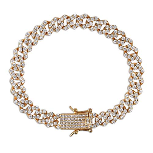 TOPGRILLZ 10mm Iced Out Lab Diamond Prong Long Buckle Miami Cuban Link Bracelet for Men Hip Hop (Gold, 7) ()