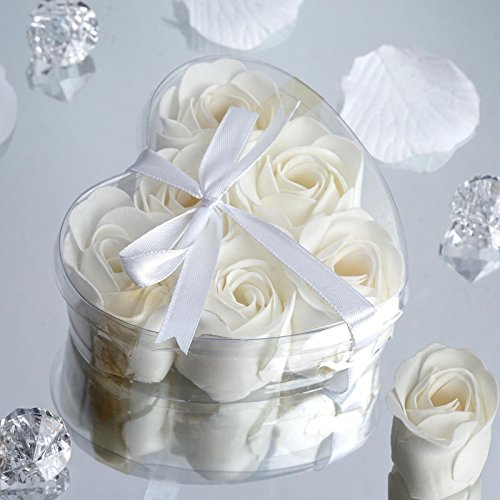 BalsaCircle 100 Gift Boxes with 6 Rose Soaps - Wedding Favors - White