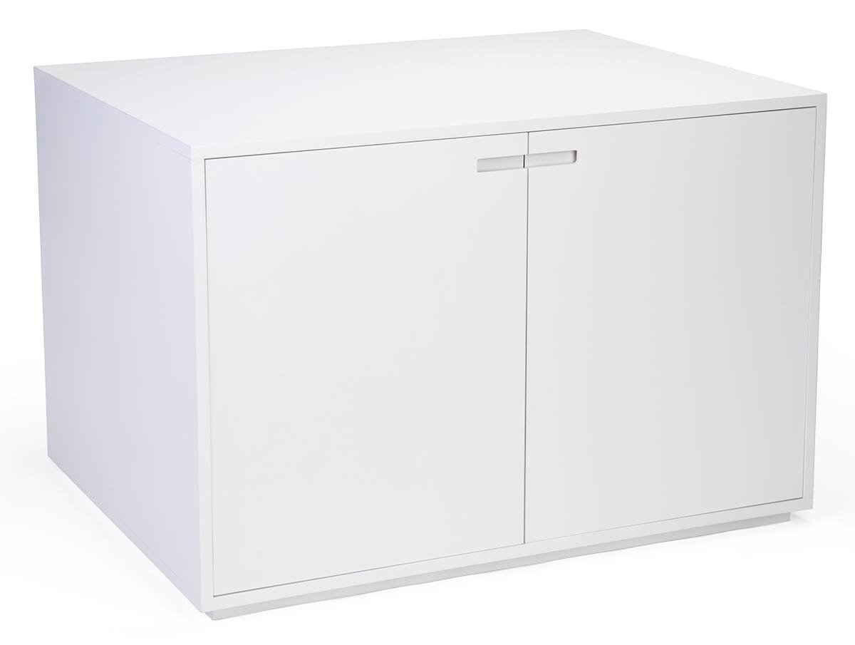 Displays2go Nested Retail Storage Cabinet with 2 Large Doors and Recessed Handles - White (CBTBLWHT40)