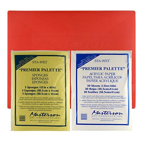 Masterson Sta-Wet Premier Pallet, 3-Pack Sponge Refill, 30-Pack Acrylic Paper Refill, Set