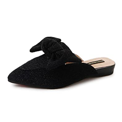 ecbf52d6eebd2 Women s Bow Adorned Slip-On Comfortable Loafer Mule Leather Suede(Black-35