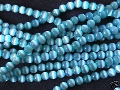 Aqua Turquoise Blue Fiber Optic Cat's Eye Beads for Jewelry Making, Supply for DIY Beading Projects 6mm (Aqua Blue Cats Eye Beads)