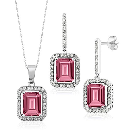 - 925 Sterling Silver Pendant Earrings Set with Octagon Pink Topaz from Swarovski