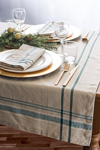 DII 100% Cotton, Machine Washable, Everyday French Stripe Kitchen Tablecloth for Dinner Parties, Summer & Outdoor Picnics - 60x84 Seats 6 to 8 People, Teal by DII (Image #6)