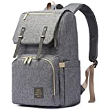 HaloVa Diaper Bag, Baby Nappy Backpack, Maternity Mommy Daddy Travel Shoulders Backpack, with Wet Cloth Pocket, Thermal Insulated Bottle Pockets and Stroller Hanging Hooks, Large Opening Design, Gray