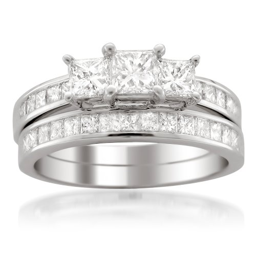 14k White Gold Princess-cut 3 Three-Stone Diamond Bridal Set Ring (2 cttw, H-I, I1-I2) by La4ve Diamonds