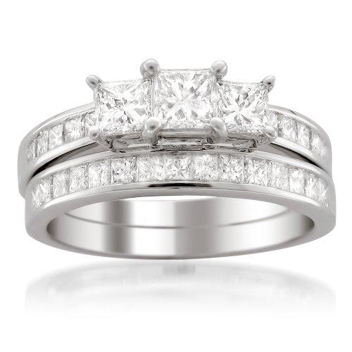 14k White Gold Princess-cut 3 Three-Stone Diamond Bridal Set Ring (2 cttw, H-I, I1-I2) by La4ve Diamonds (Image #6)