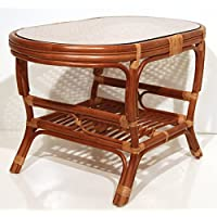Pelangi Coffee Oval Table with Glass Top Natural Rattan Wicker ECO Handmade Design, Cognac
