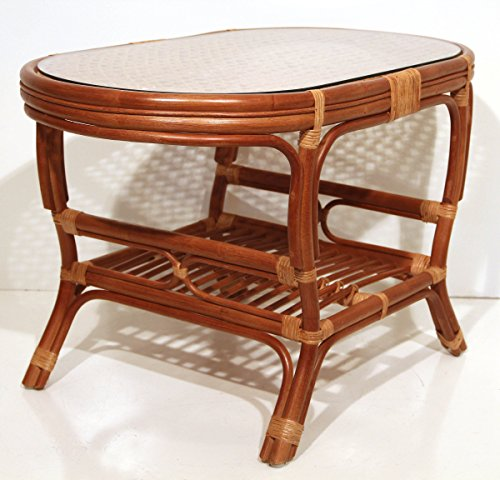 Coffee Oval Table with Glass Top Wicker Eco Rattan Handmade Color Cognac