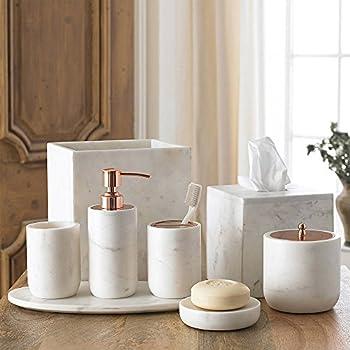 4 Piece Bath Accessory Set By Kassatex, Pietra Marble Bath Accessories |  Lotion Dispenser, Toothbrush Holder, Tumbler, Soap Dish   Calacatta Marble