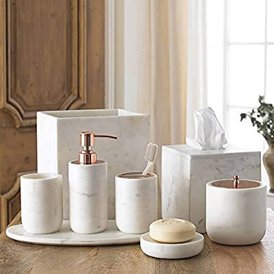 Kassatex Pietra Calacatta Marbel with Stainless Steel Rose Gold Finish Bath Accessory Set by Lotion Dispenser, Tumbler, Toothbrush Holder, Soap Dish, Cotton Jar, Tray, Tissue Holder, Waste Basket - CRAFTED FROM CALCATTA MARBLE: The distinct veining and electroplated rose gold finish make our Pietra bath accessories a stunning addition to the modern bathroom. - bathroom-accessory-sets, bathroom-accessories, bathroom - 510 5gj4v3L. SS400  -