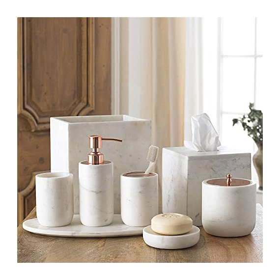 Kassatex Lotion Dispenser, Pietra Marble Bath Accessories | Calacatta Marble - CRAFTED FROM CALCATTA MARBLE: The distinct veining and electroplated rose gold finish make our Pietra bath accessories a stunning addition to the modern bathroom. - bathroom-accessory-sets, bathroom-accessories, bathroom - 510 5gj4v3L. SS570  -