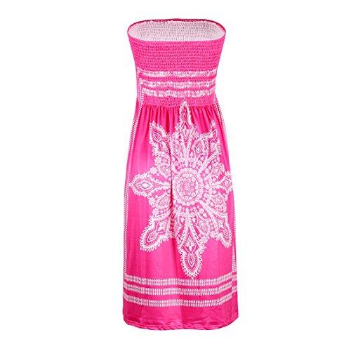 Shinekoo Damen Sommer Bandeau Schulterfrei Flora Muster Bunt Boho-Stil Casual Mini Strandkleider Neckholder Kleid Rosa jYiCcJDtz