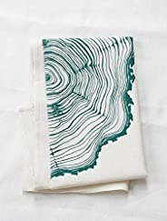 Organic Cotton Tree Ring Tea Towel in Dark Green