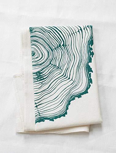 Amazon Com Tea Towel Organic Cotton Tree Ring Design In Dark