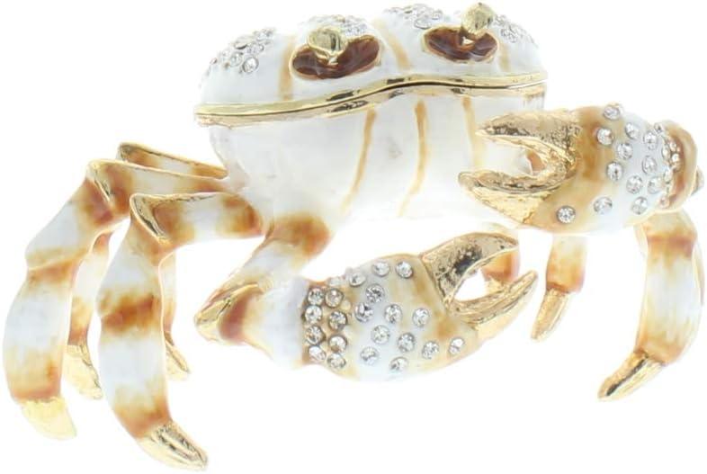 Crab Jeweled Trinket Box with SWAROVSKI Crystals Blue
