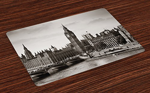 (Ambesonne London Place Mats Set of 4, Westminster with Big Ben and Bridge Nostalgic Image British Antique Architecture, Washable Fabric Placemats for Dining Table, Standard Size, Sepia White)
