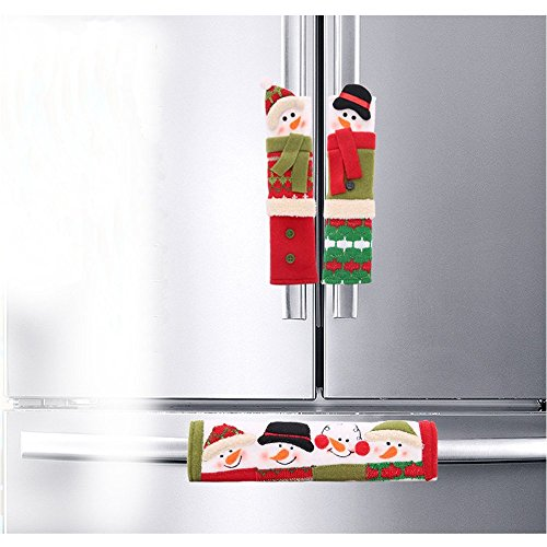 Moonter Set of 3 Christmas Refrigerator Fridge Microwave Ovens Microwave Dishwasher Dust Door Handle Cover Door Cloth Cover for Home Kitchen Appliance Decoration