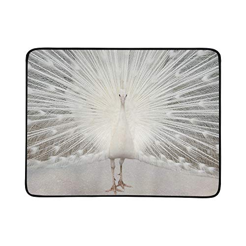 ZXWXNLA White Albino Peacock with Tail Feathers On Display Pattern Portable and Foldable Blanket Mat 60x78 Inch Handy Mat for Camping Picnic Beach Indoor Outdoor Travel