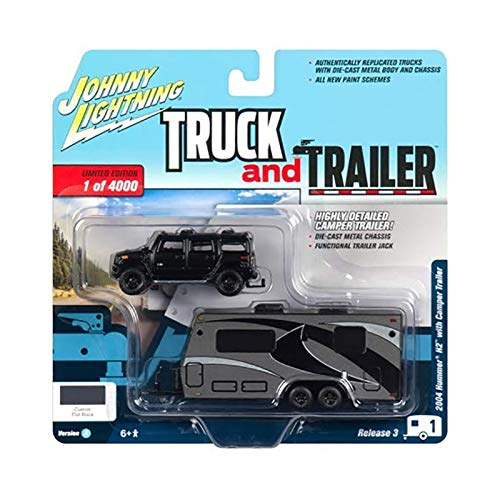 - 2004 Hummer H2 Black with Gunmetal Camper Trailer Limited Edition to 4,000 Pieces Worldwide Truck and Trailer Series 3 1/64 Diecast Model Car by Johnny Lightning JLSP037 A