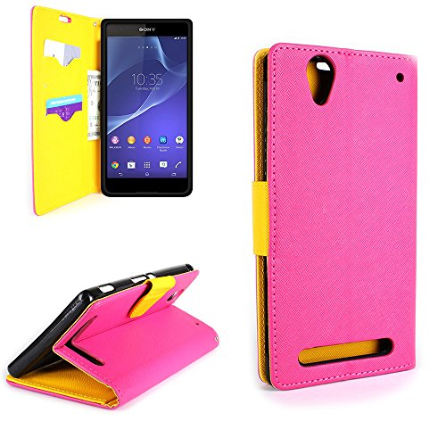 Sony Xperia T2 Ultra Wallet Phone Case and Screen Protector | CoverON (CarryAll) Pouch Series | Tough Textured Exterior (Hot Pink / Yellow) Flip Stand Protective Cover with Credit Card and Cash Holder Slots for Sony Xperia T2 Ultra D5303