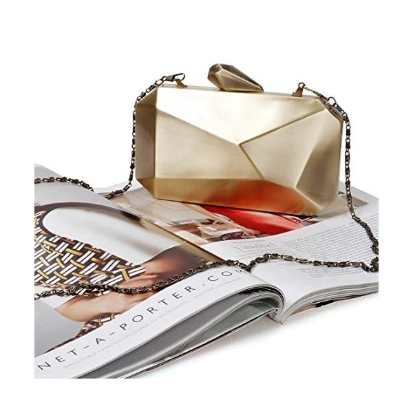BMC Womens Alloy Metal Abstract Stone Cut Hardcase Fashion Clutch Chain Handbag