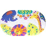 Idea Factory Zoo Pals Bath Mat - Non-Slip Construction - Easy to Clean - 100% BPA, Latex, Phthalate, and Lead Free - Safe and Comfortable
