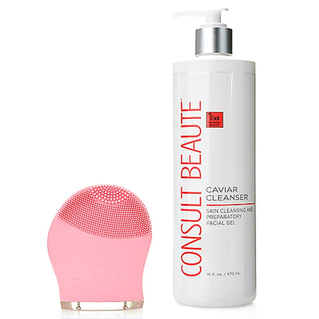 Consult Beaute Pink Multi Speed Sonic Cleansing Tool w/Caviar Cleanser 16 oz