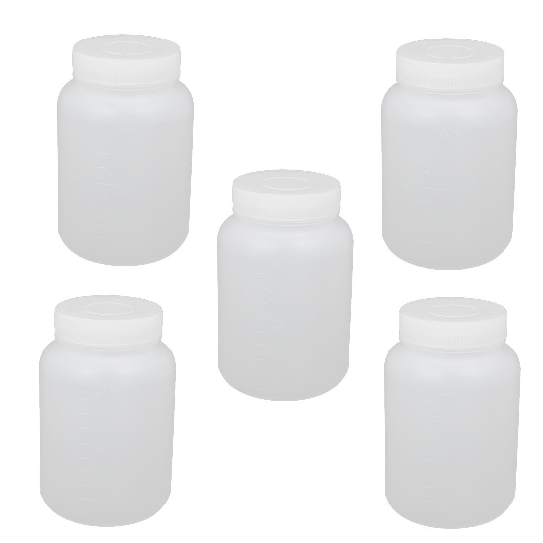 uxcell 5Pcs 500ml Plastic Wide Mouth Cylindrical Laboratory Reagent Bottle Sealling Bottle White