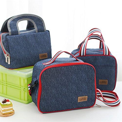 qearly Corea stile grazioso Demin tasche borsa termica da Picnic Kuehl Borsa Lunch Bag per da viaggio, Picnic, spiaggia, acquisti e