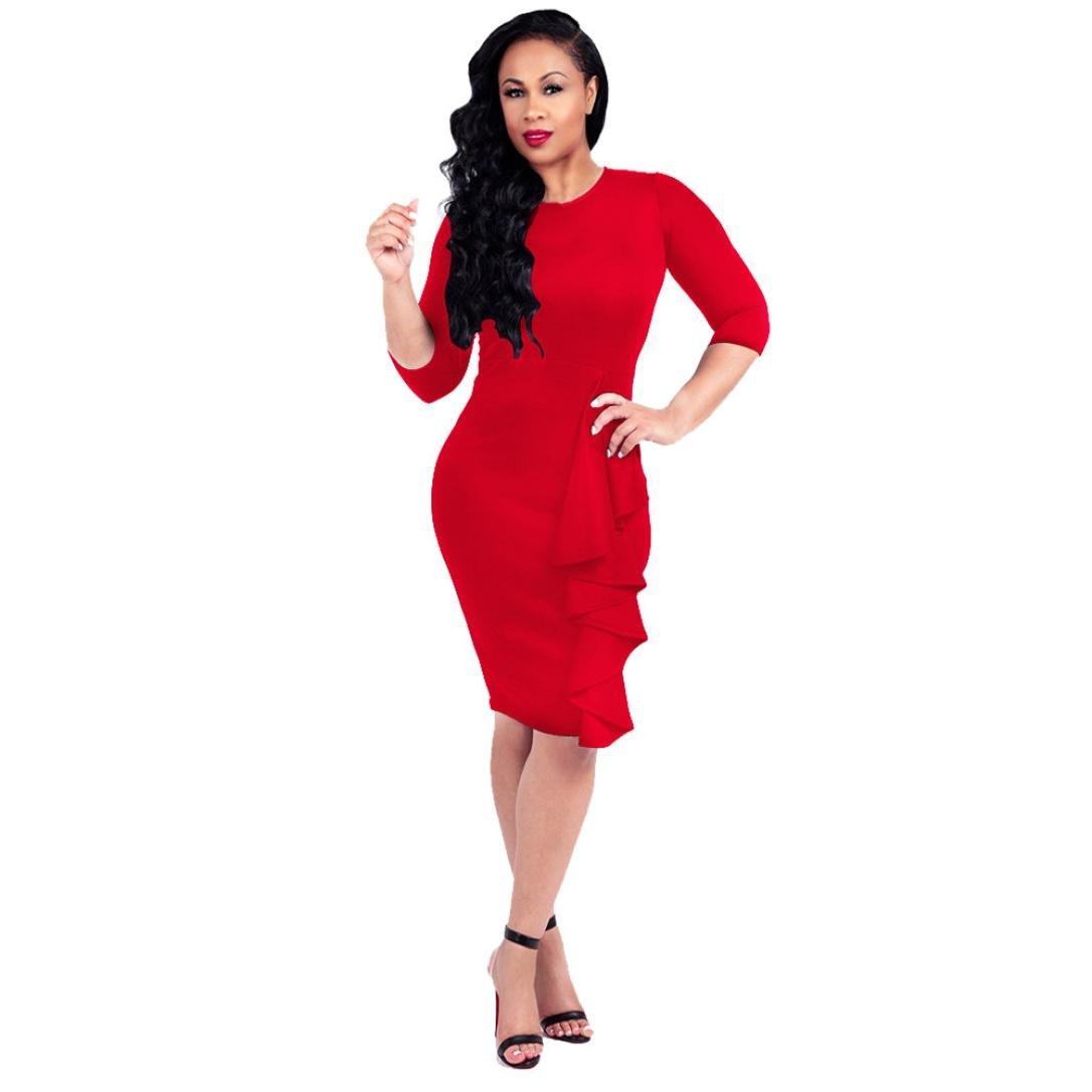 Siviki Women Summer Autumn O-Neck Casual Long Sleeve Knee Length Party Elbow Sleeve Shift Dress (S, Red)