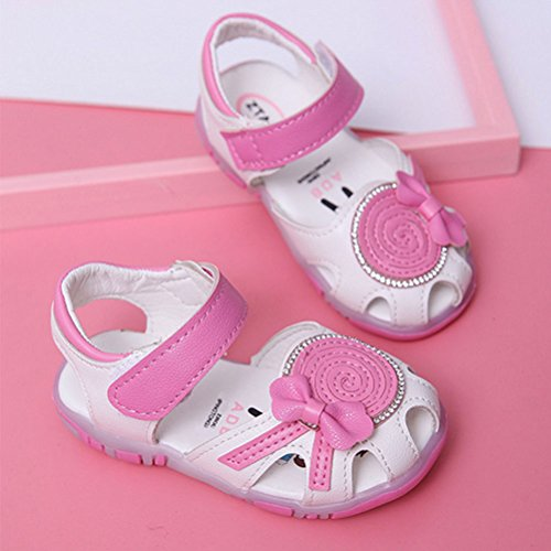 Zhhlaixing Baby Summer Anti-slip Toddler Cute First Walkers Shoes Lighted Soft-Soled Sandals White