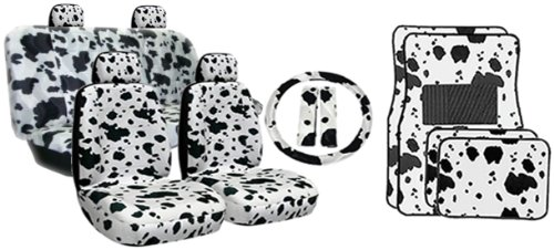 Amazon New Premium Grade 15 Pieces COW Print Low Back Front Car Seat Cover Rear Bench With Head Rest Covers And 4 Floor Mats Set