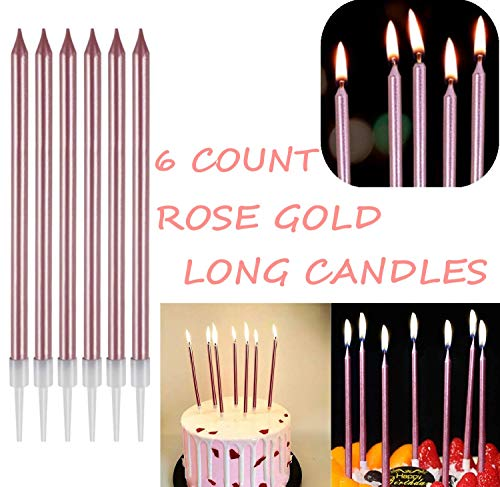 27 Pack Rose Gold Confetti Balloon Happy Birthday Cake Topper Set, Candles Stars Party Decor Girl Kids Baby Shower (Rose Gold)