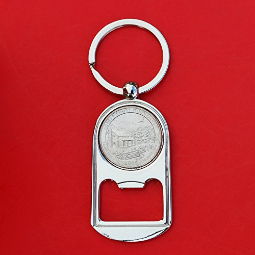US 2014 Tennessee Great Smoky Mountains National Park Quarter BU Uncirculated Coin Silver Tone Key Chain Ring Bottle Opener NEW - America the Beautiful (Silver Quarter Key)