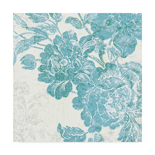 Trademark Fine Art Toile Roses V Teal by Sue Schlabach, 14x14-Inch