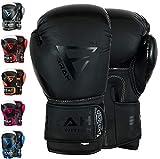EMRAH Charged V-2 Boxing Gloves Muay Thai Training Sparring Punching Bag Mitts kickboxing Fighting (Matt Black, 12 OZ)