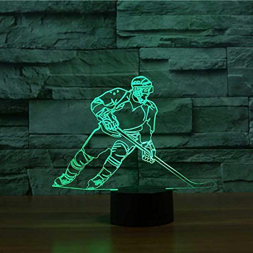 3D Ice Hockey Player Night Light USB Touch Switch Decor Animal Lamp Table Desk Optical Illusion Lamps 7 Color Changing Lights LED Table Lamp Home Love Brithday Children Kids Toy Gift by MOLLY HIESON