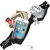 USHAKE Slim Running Belt, Ultra Light Bounce Free Waist Pouch Fitness Workout Belt Sport Waist Pack Exercise Waist Bag for Apple iPhone 8 X 7 6+ 5s Samsung in Running Gym Marathon Cycling (black02)