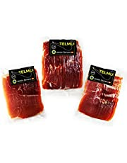 Spaanse Ham. Vacuümgesneden ham. Serranoham in plakjes gesneden en vacuüm verpakt. Serranoham pak 3 eenheden van 250 gram per stuk (750 gram). Ham in envelop. Ham leeg verpakt. Ham zonder been.