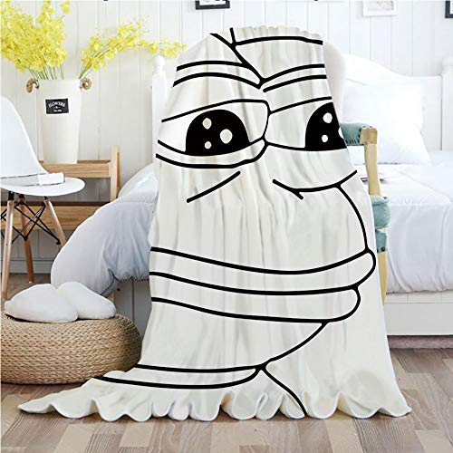 Ylljy00 Humor Decor,Throw Blankets,Flannel Plush Velvety Super Soft Cozy Warm with/Melancholic Frog Meme Cartoon Face Almost Crying Emotion Expression Design/Printed Pattern(70