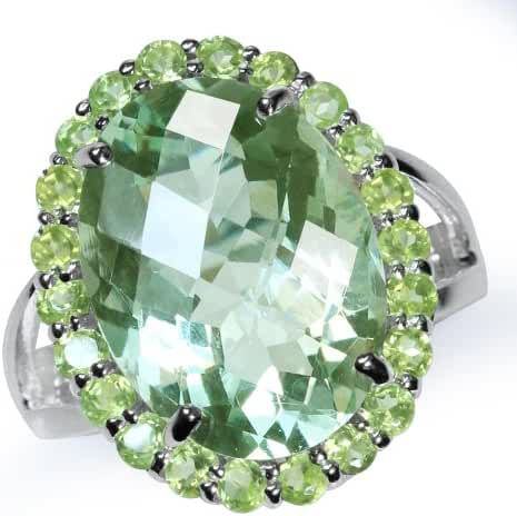 HUGE 10ct. Natural Green Amethyst & Peridot White Gold Plated 925 Sterling Silver Cocktail Ring